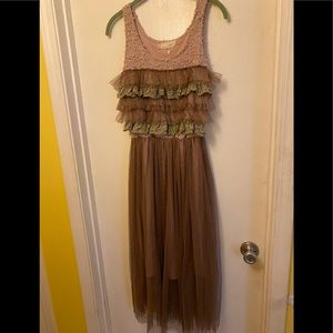 A'reve Sleeveless Dress Lace Toole Ruffles Small